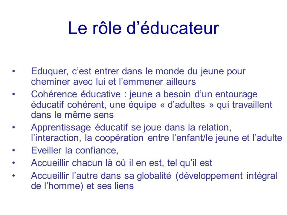 Le rôle d'éducateur Eduquer, c'est entrer dans le monde du jeune pour cheminer avec lui et l'emmener ailleurs.