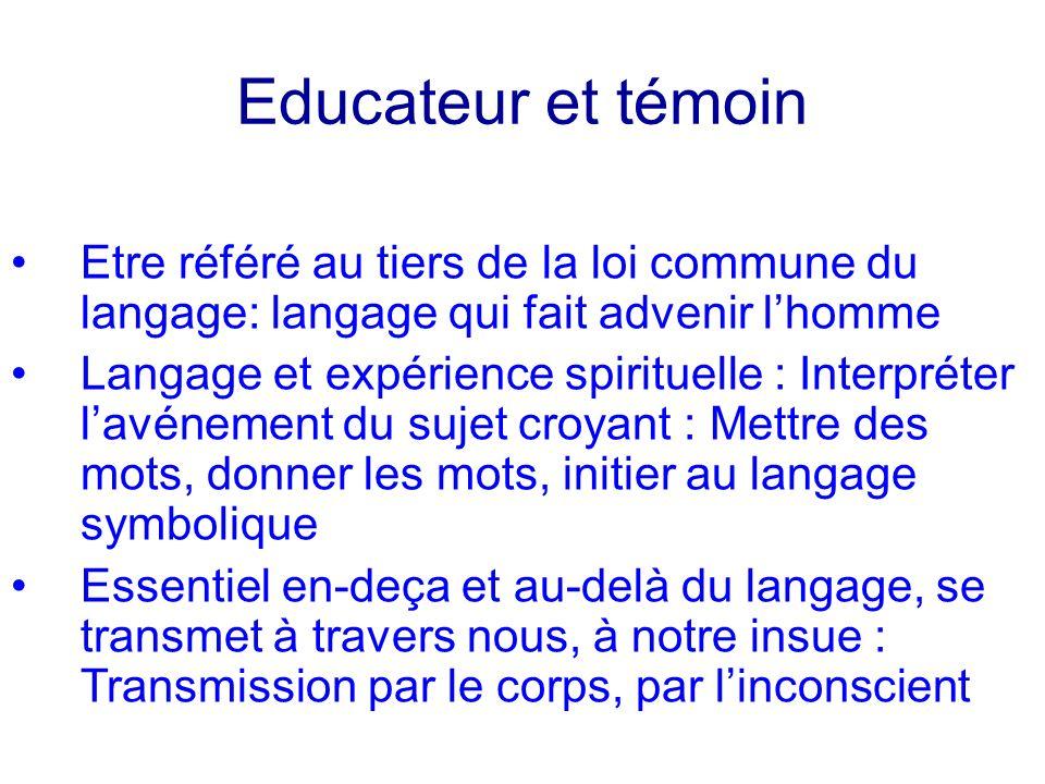 Educateur et témoin Etre référé au tiers de la loi commune du langage: langage qui fait advenir l'homme.