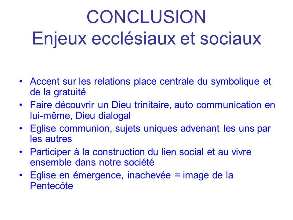 CONCLUSION Enjeux ecclésiaux et sociaux