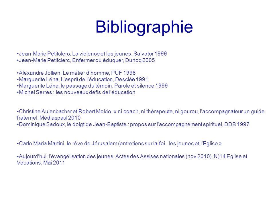 Bibliographie Jean-Marie Petitclerc, La violence et les jeunes, Salvator 1999. Jean-Marie Petitclerc, Enfermer ou éduquer, Dunod 2005.