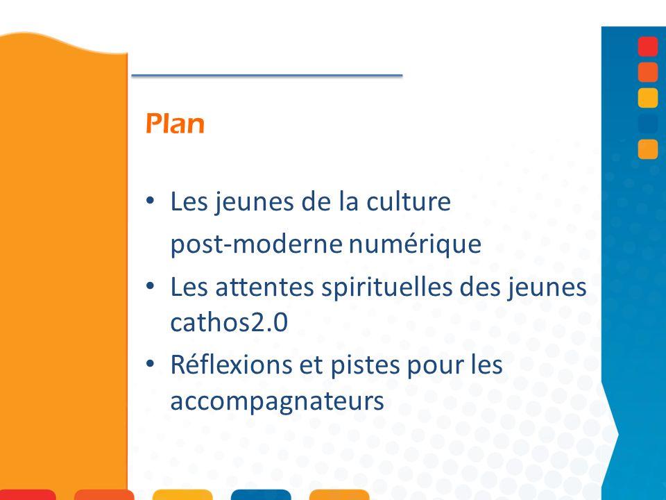 Plan Les jeunes de la culture. post-moderne numérique. Les attentes spirituelles des jeunes cathos2.0.