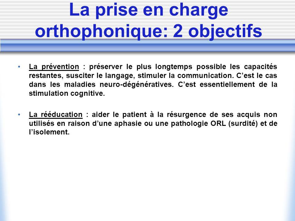 La prise en charge orthophonique: 2 objectifs