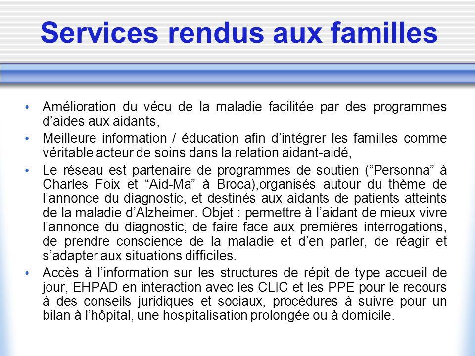 Services rendus aux familles