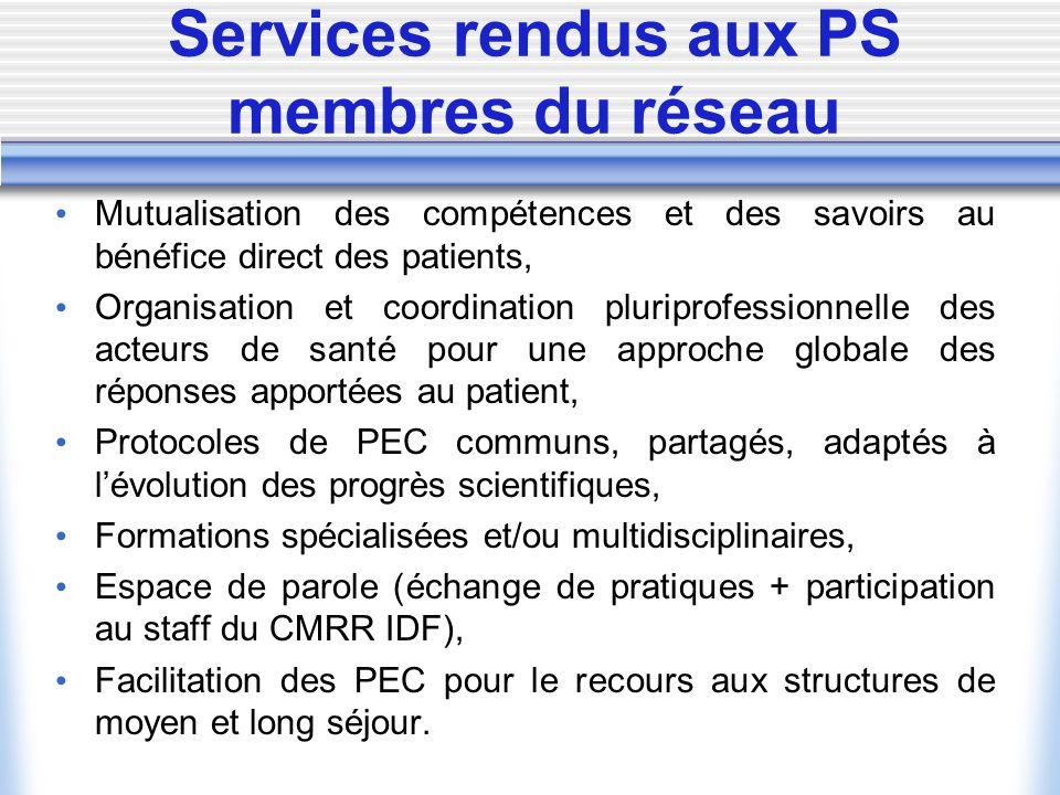 Services rendus aux PS membres du réseau