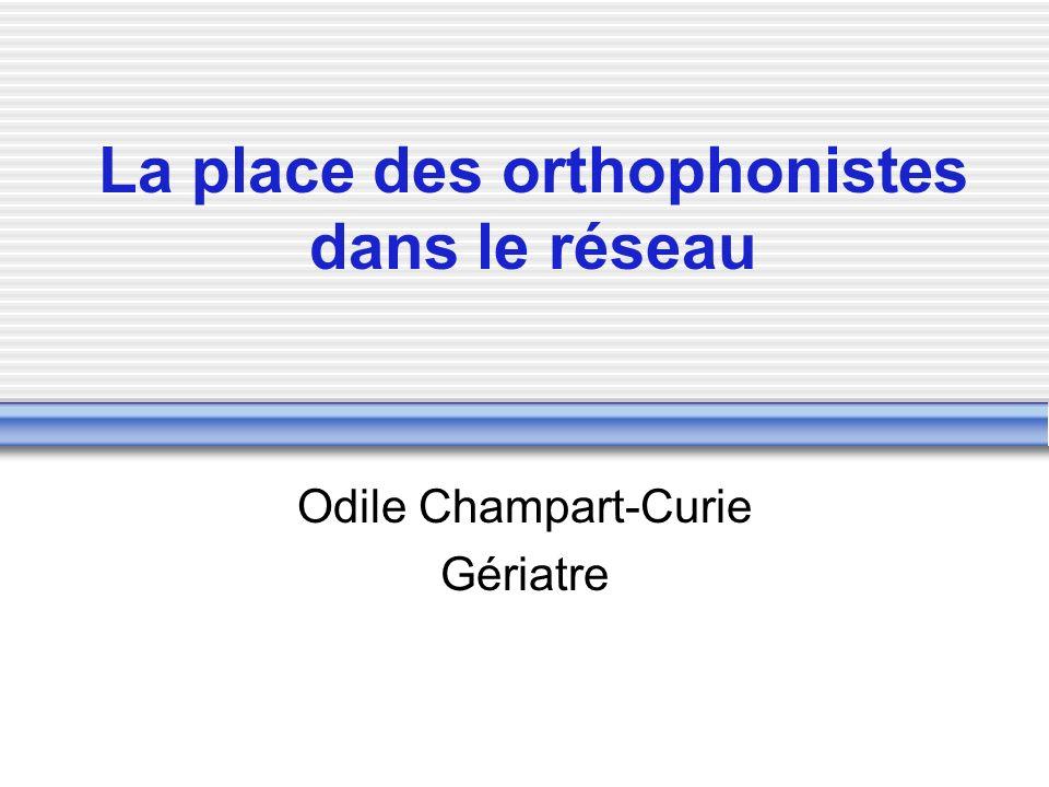 La place des orthophonistes dans le réseau