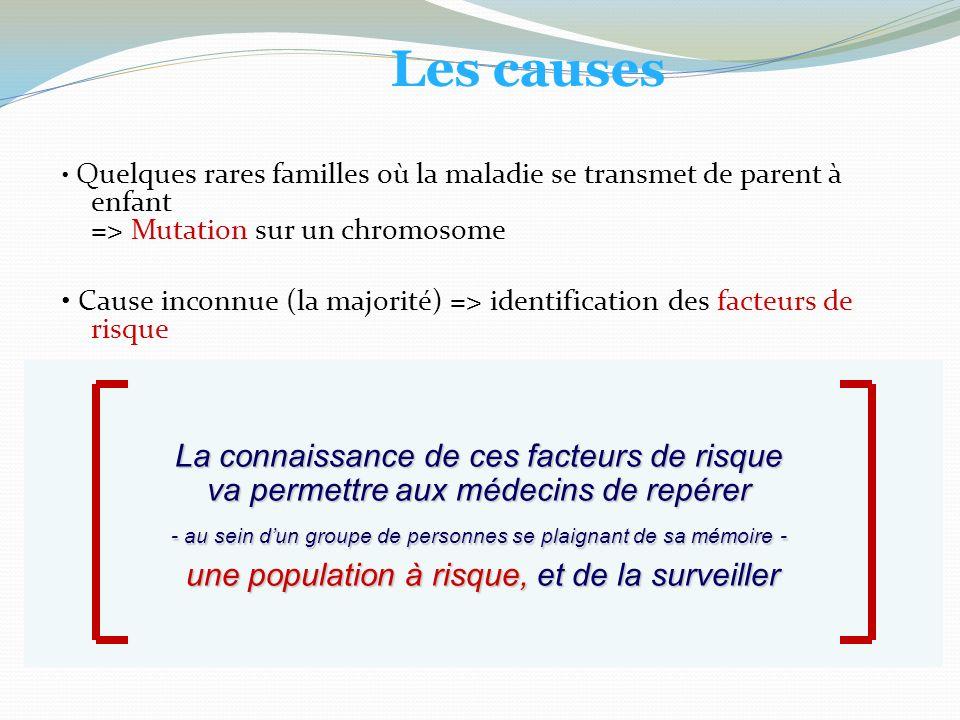 Les causes • Quelques rares familles où la maladie se transmet de parent à enfant => Mutation sur un chromosome.