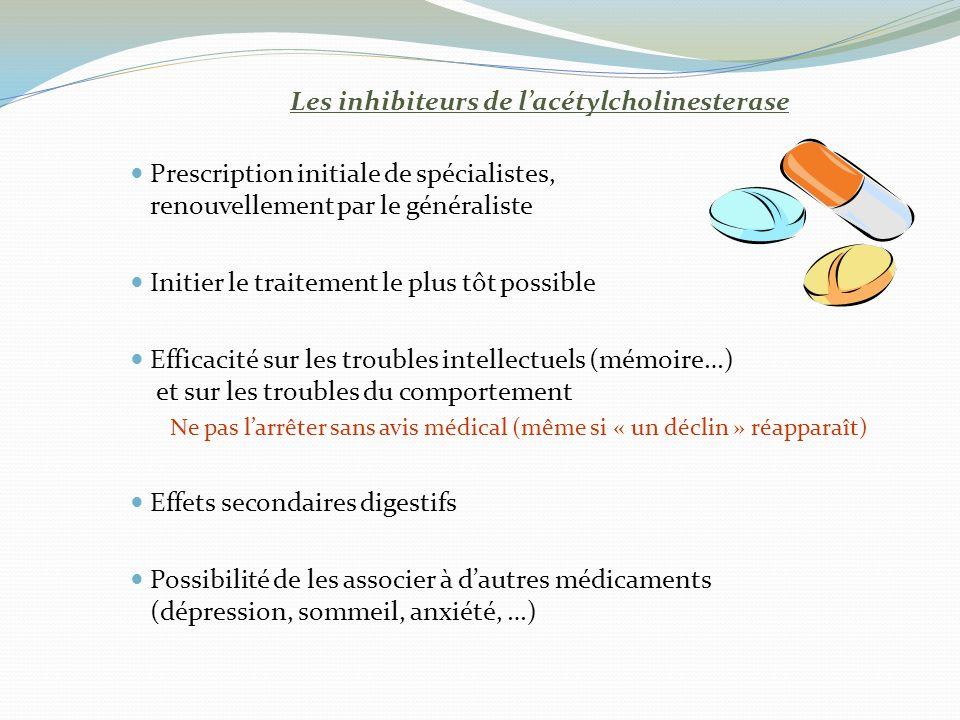 Les inhibiteurs de l'acétylcholinesterase