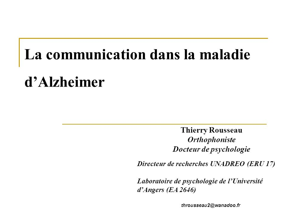 La communication dans la maladie d'Alzheimer