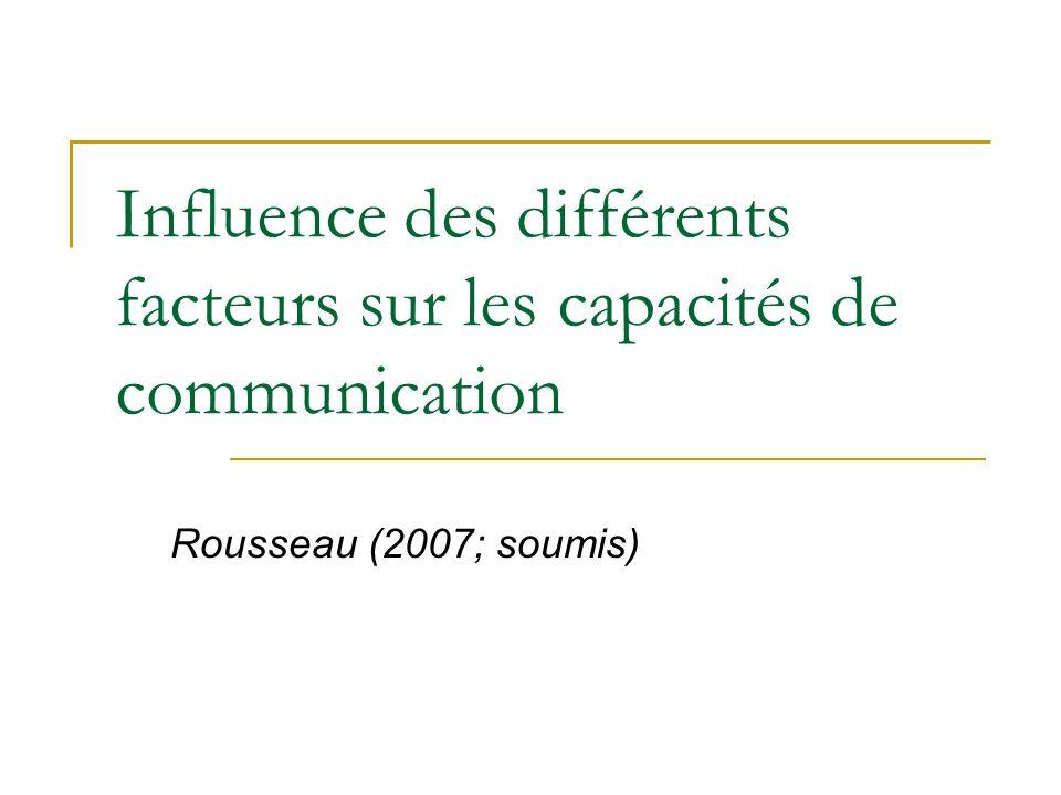 Influence des différents facteurs sur les capacités de communication