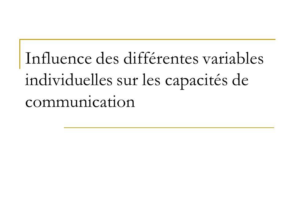 Influence des différentes variables individuelles sur les capacités de communication