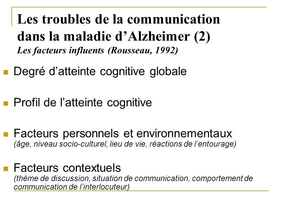 Les troubles de la communication dans la maladie d'Alzheimer (2) Les facteurs influents (Rousseau, 1992)