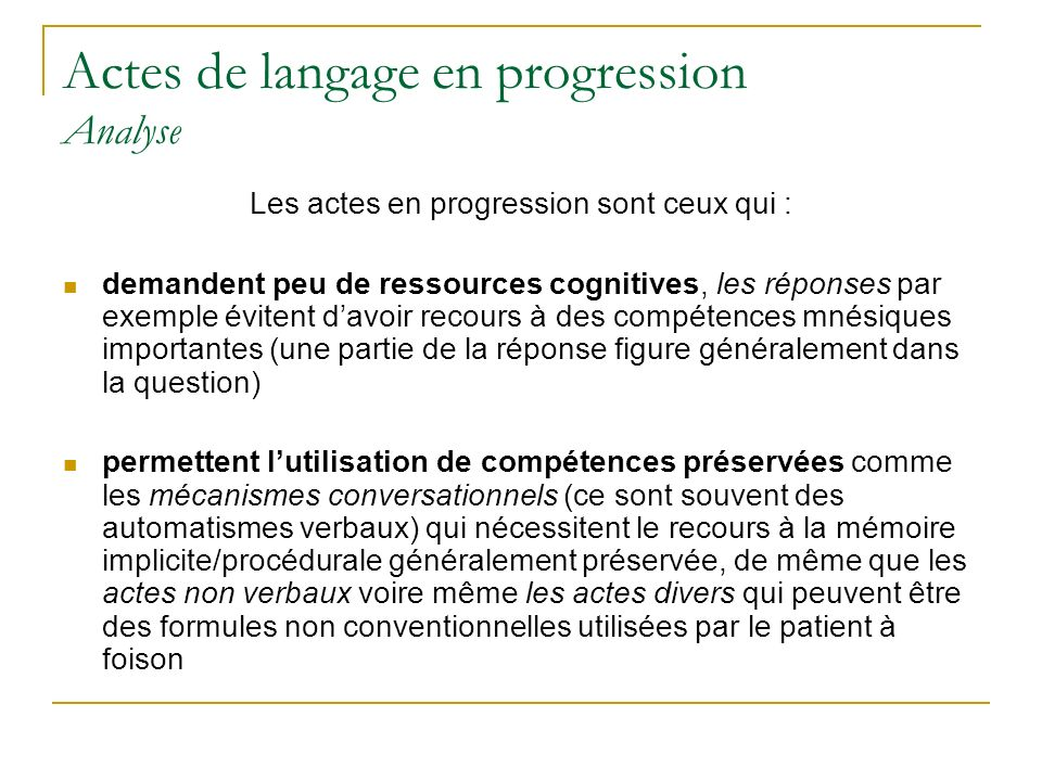 Actes de langage en progression Analyse
