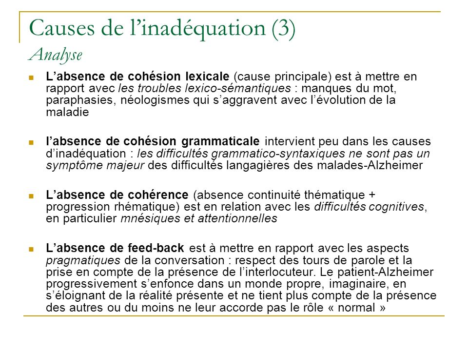 Causes de l'inadéquation (3) Analyse
