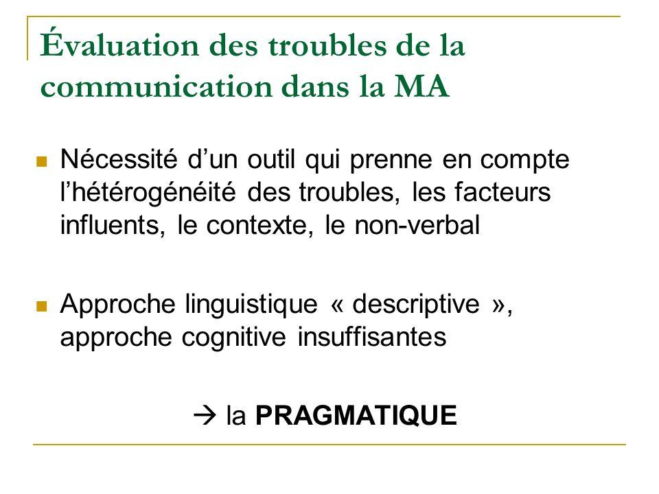 Évaluation des troubles de la communication dans la MA