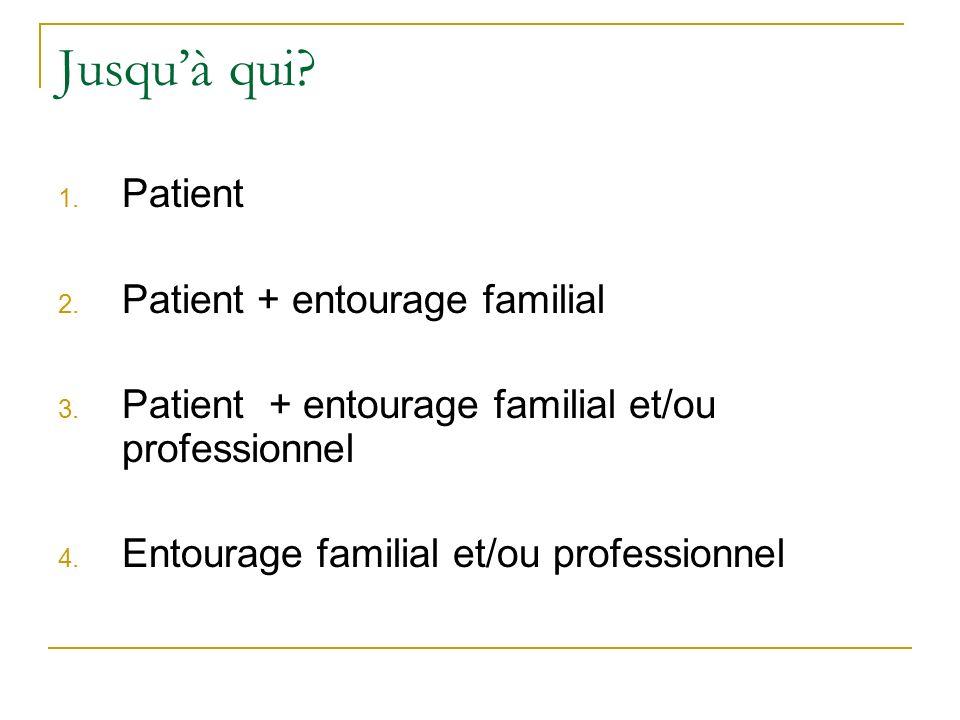 Jusqu'à qui Patient Patient + entourage familial