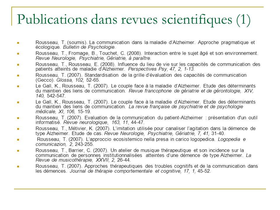 Publications dans revues scientifiques (1)