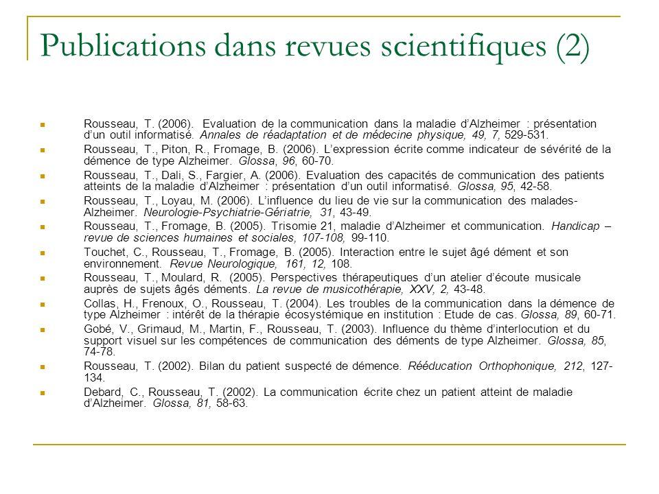 Publications dans revues scientifiques (2)