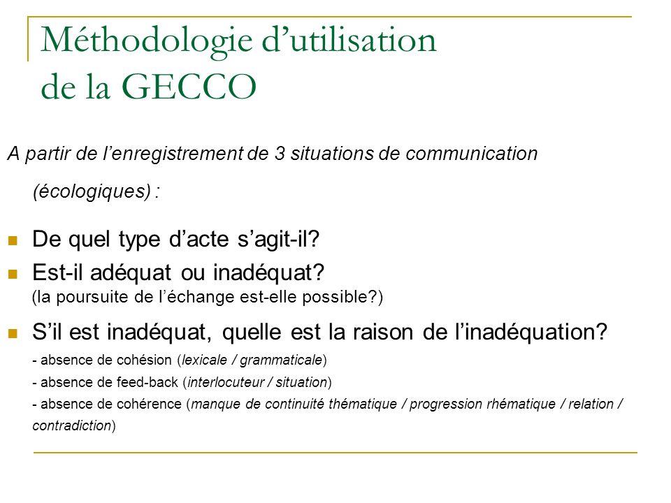 Méthodologie d'utilisation de la GECCO
