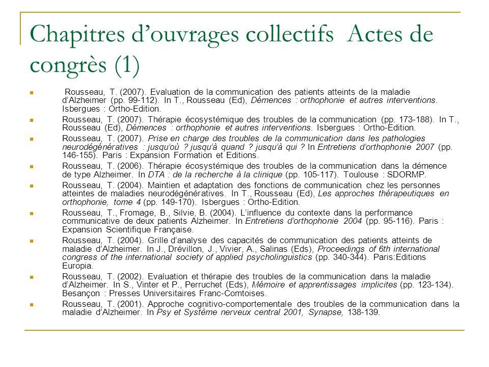 Chapitres d'ouvrages collectifs Actes de congrès (1)