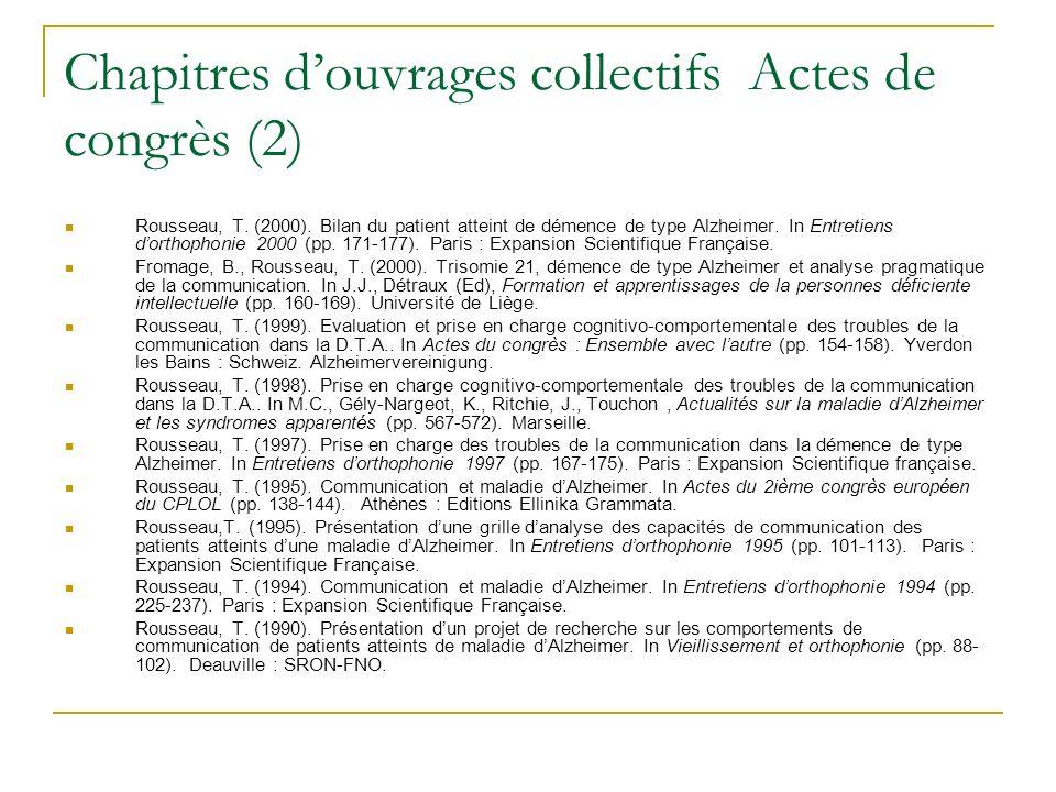 Chapitres d'ouvrages collectifs Actes de congrès (2)