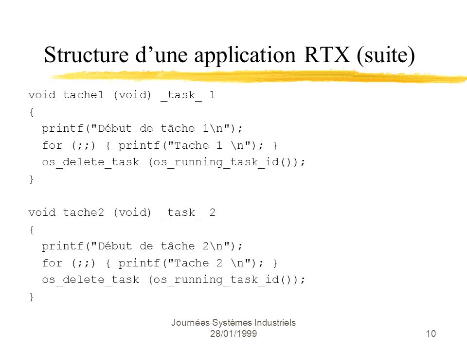 Structure d'une application RTX (suite)