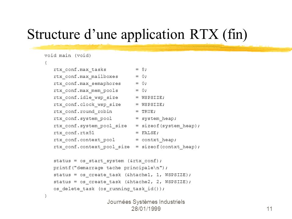 Structure d'une application RTX (fin)