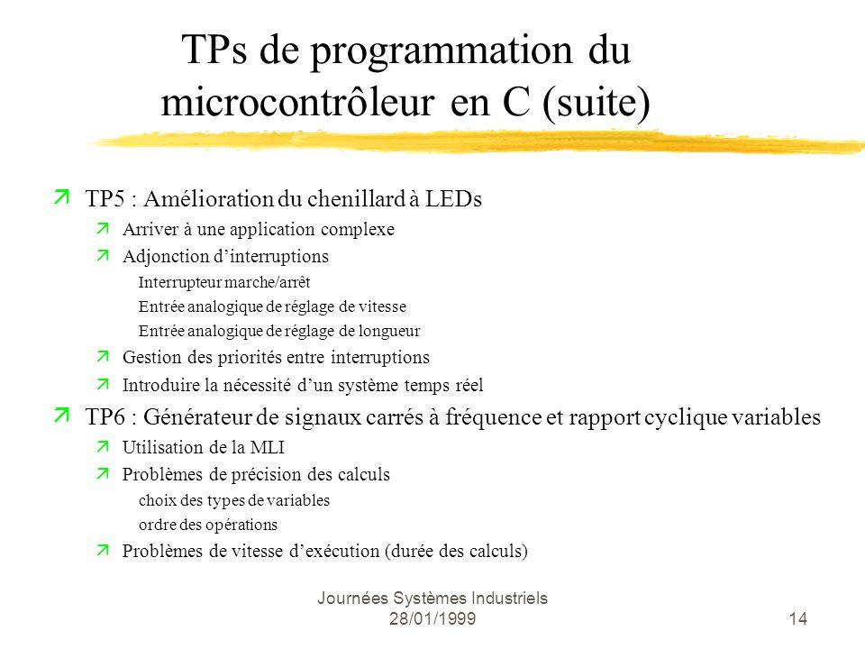 TPs de programmation du microcontrôleur en C (suite)