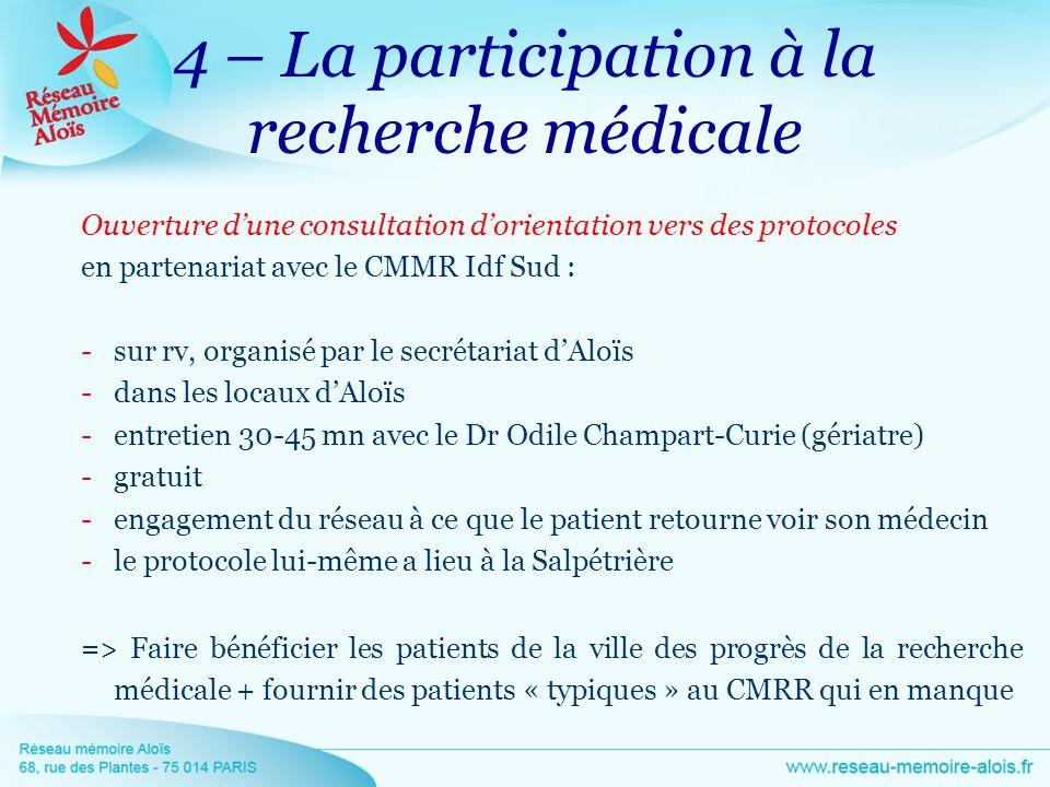 4 – La participation à la recherche médicale