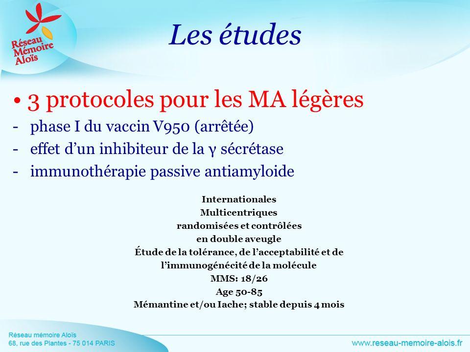 Les études • 3 protocoles pour les MA légères