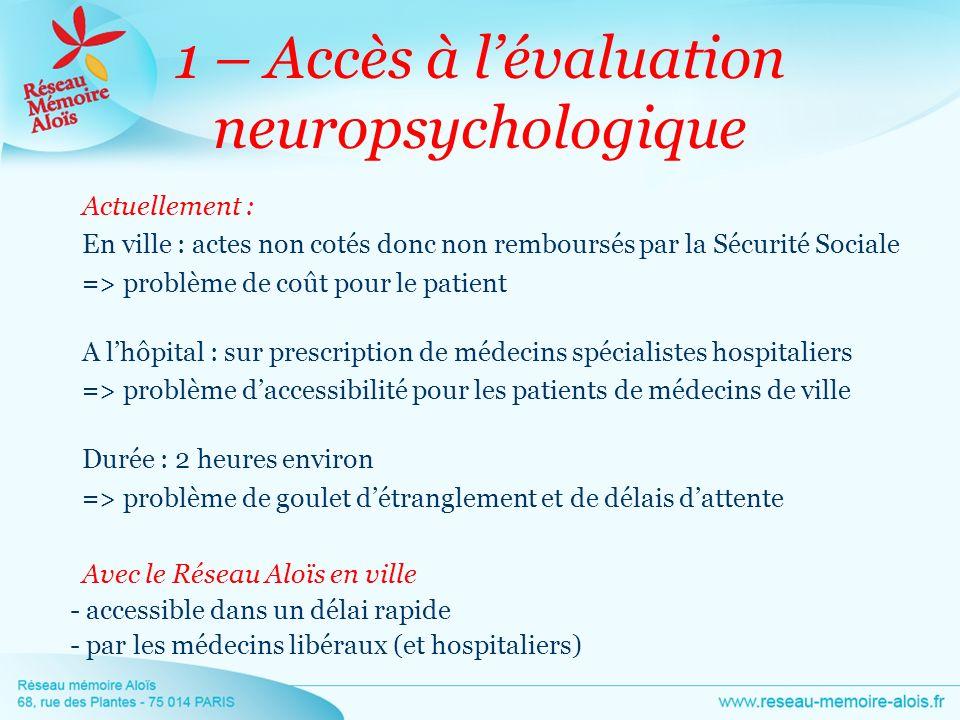 1 – Accès à l'évaluation neuropsychologique