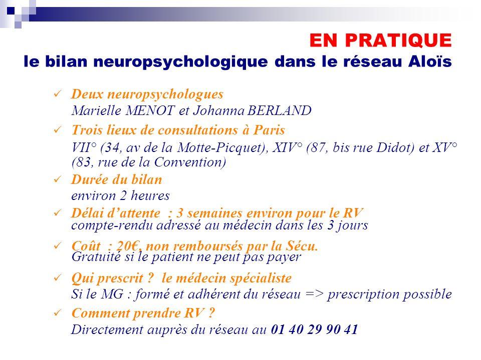 EN PRATIQUE le bilan neuropsychologique dans le réseau Aloïs
