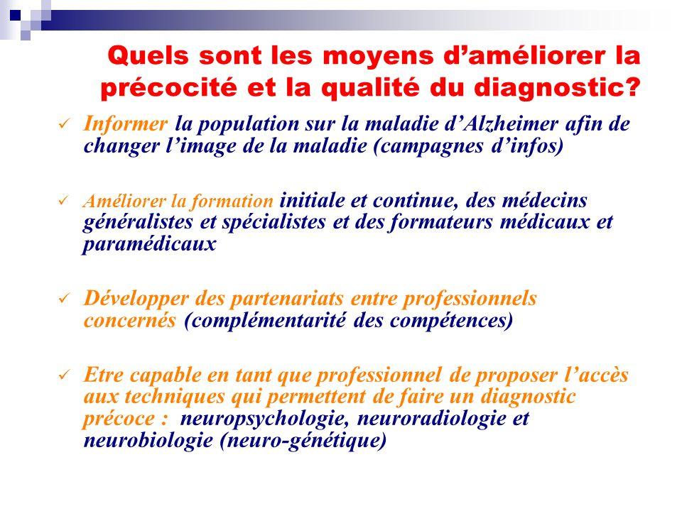 Quels sont les moyens d'améliorer la précocité et la qualité du diagnostic