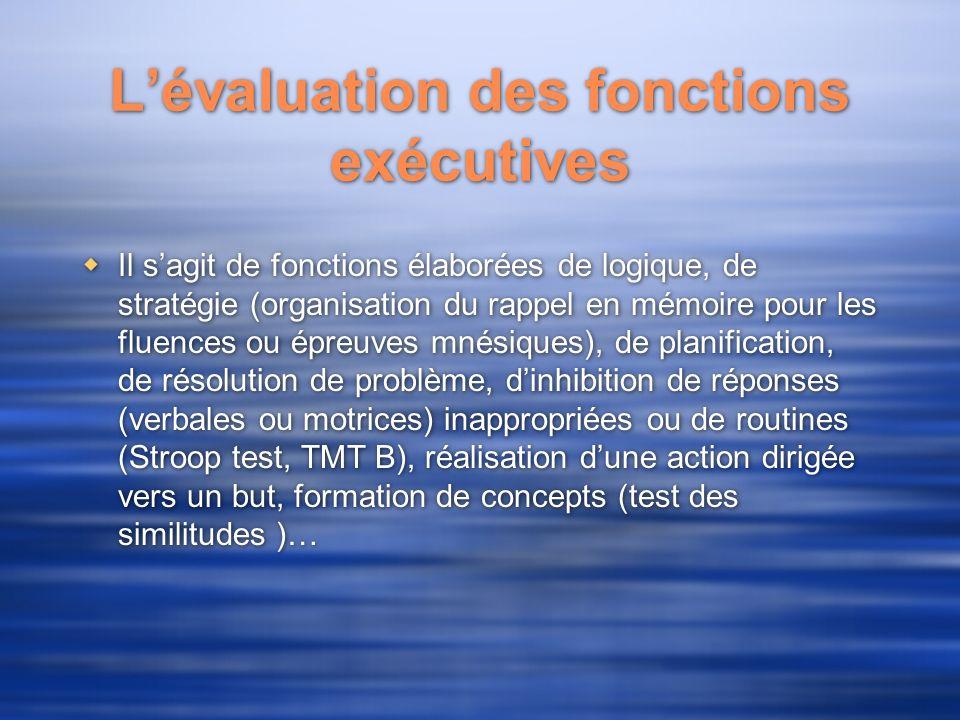 L'évaluation des fonctions exécutives