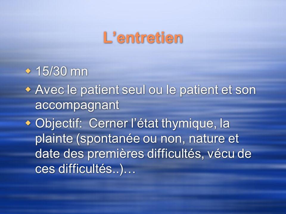 L'entretien 15/30 mn. Avec le patient seul ou le patient et son accompagnant.
