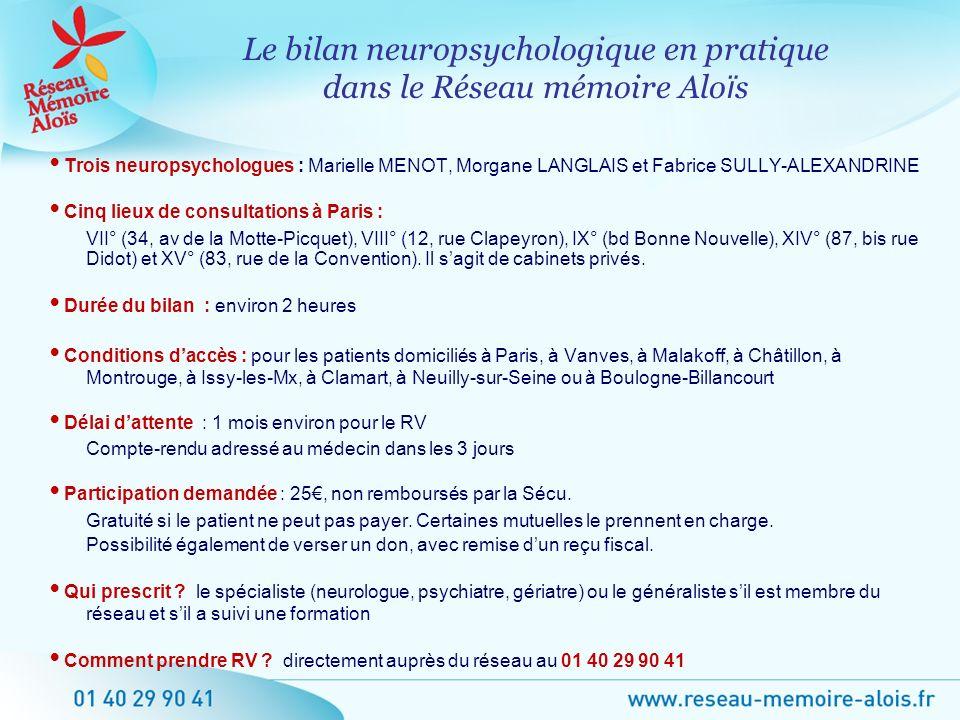 Le bilan neuropsychologique en pratique dans le Réseau mémoire Aloïs