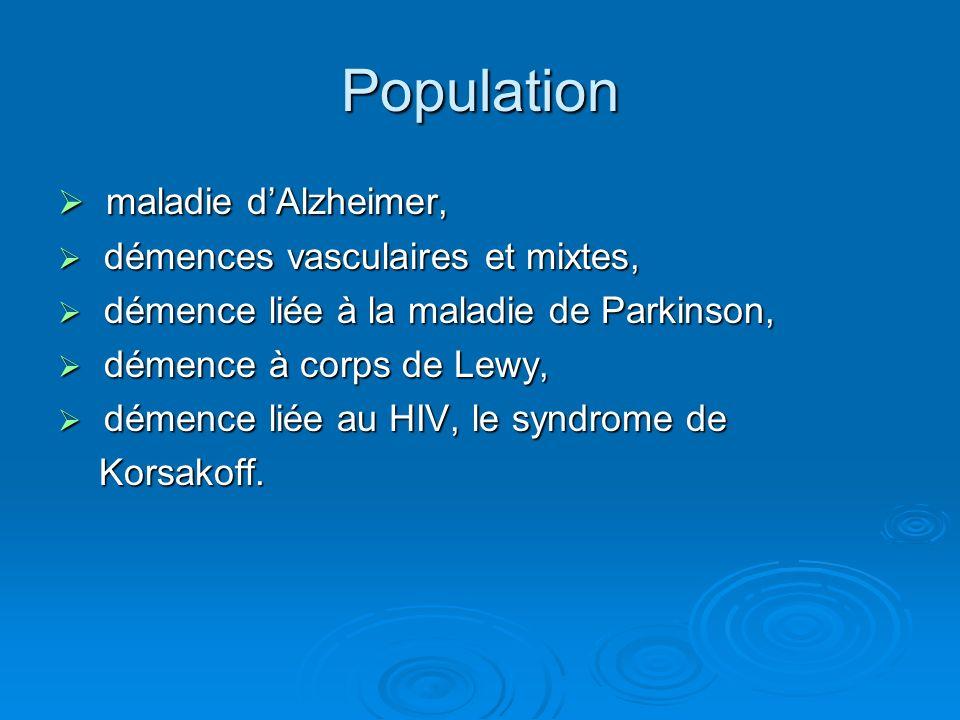 Population maladie d'Alzheimer, démences vasculaires et mixtes,