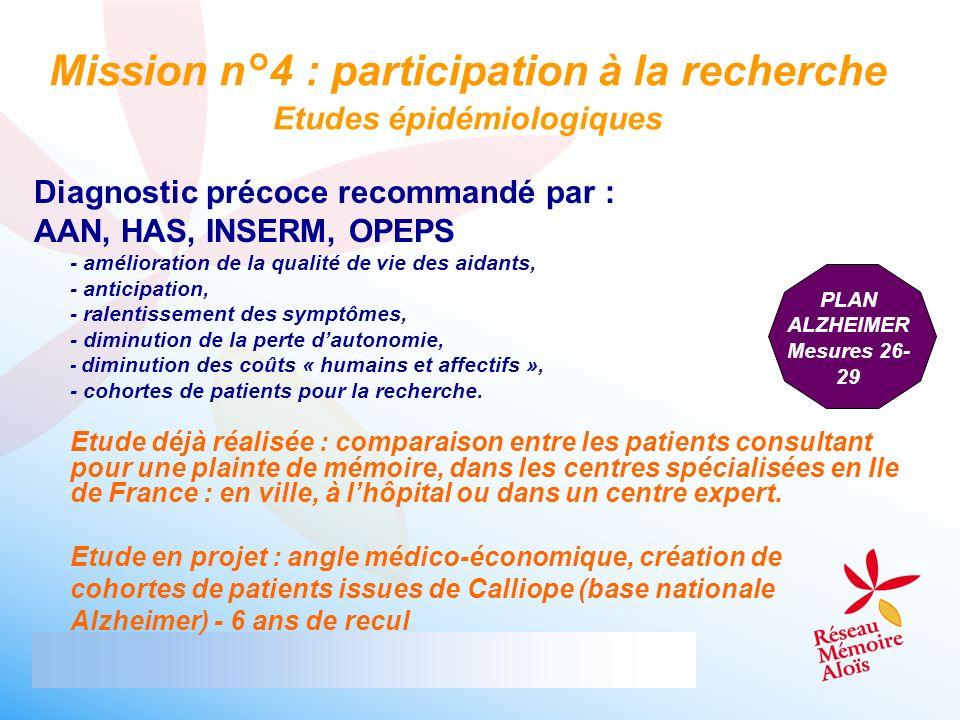 Mission n°4 : participation à la recherche Etudes épidémiologiques