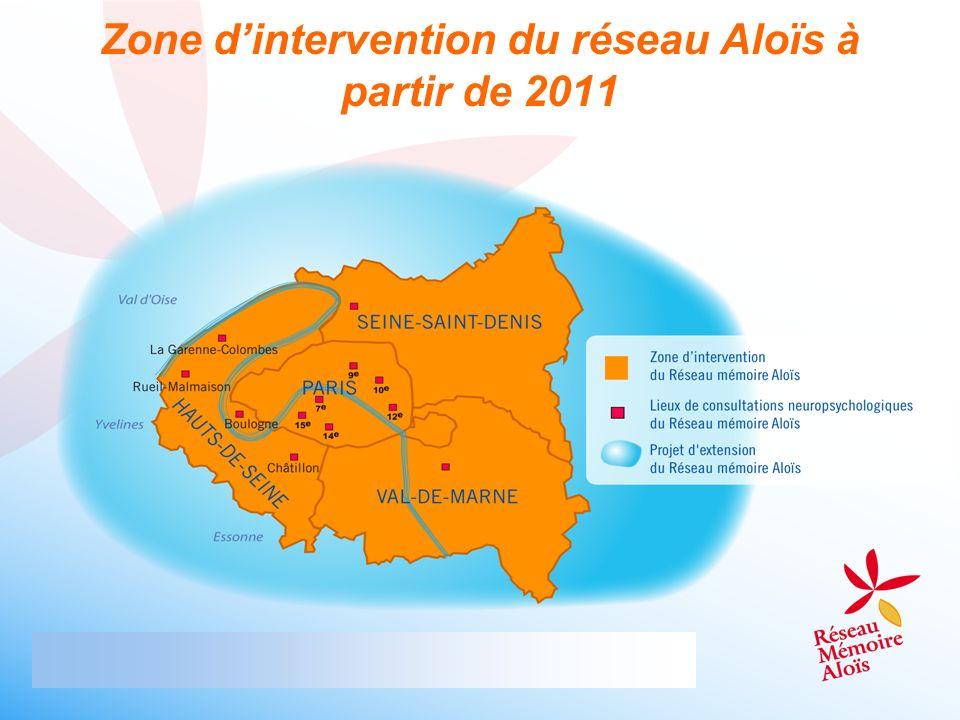 Zone d'intervention du réseau Aloïs à partir de 2011