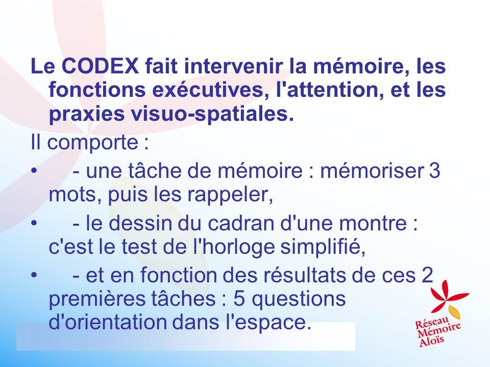 Le CODEX fait intervenir la mémoire, les fonctions exécutives, l attention, et les praxies visuo-spatiales.