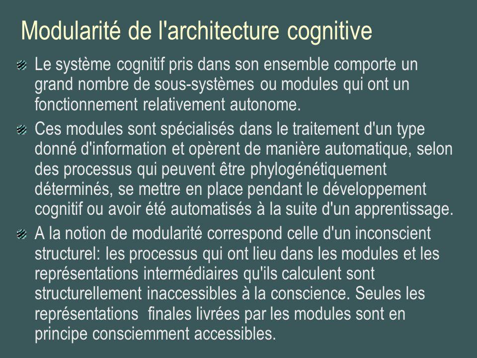 Modularité de l architecture cognitive