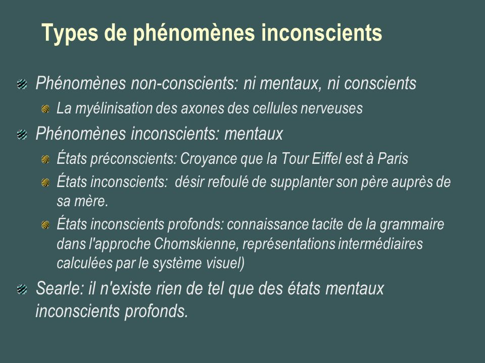 Types de phénomènes inconscients