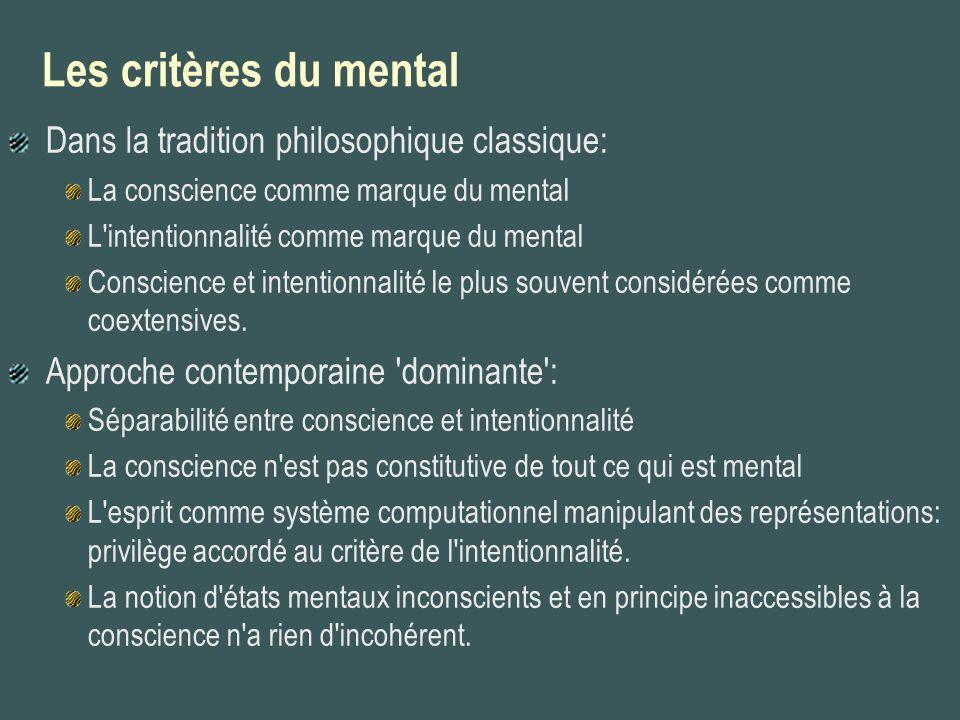 Les critères du mental Dans la tradition philosophique classique: