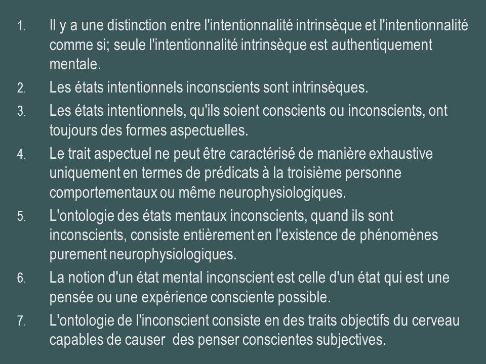 Il y a une distinction entre l intentionnalité intrinsèque et l intentionnalité comme si; seule l intentionnalité intrinsèque est authentiquement mentale.