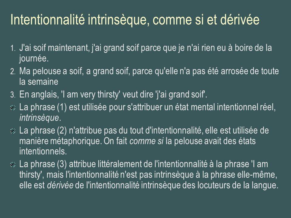 Intentionnalité intrinsèque, comme si et dérivée