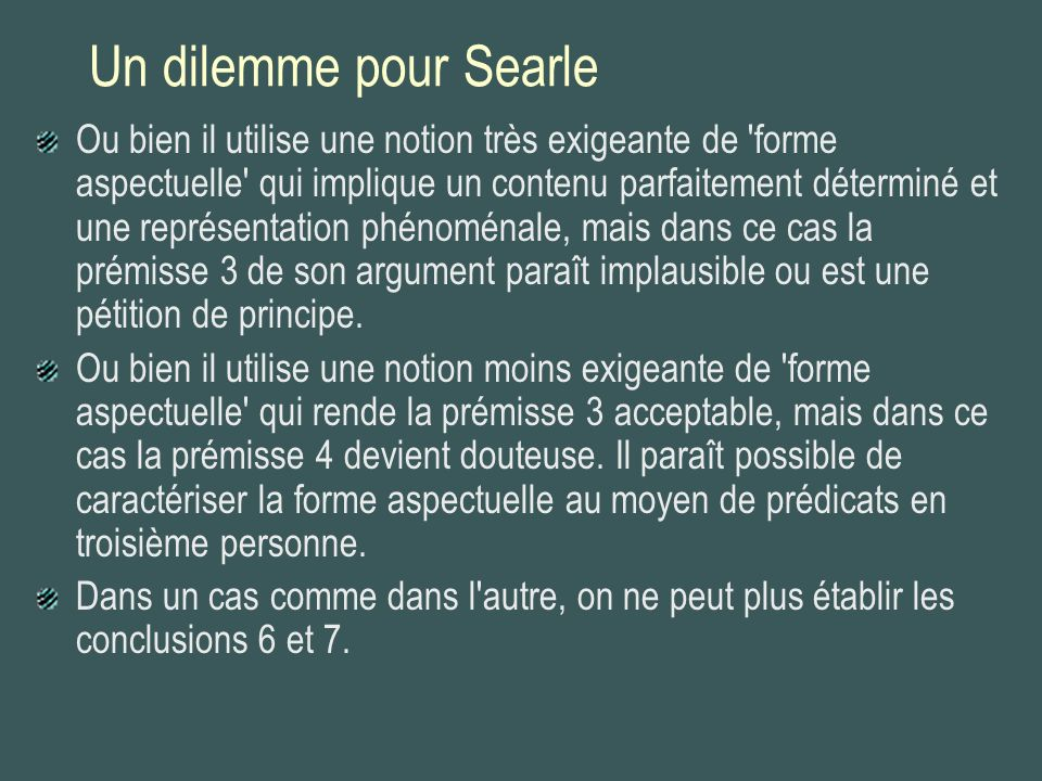 Un dilemme pour Searle