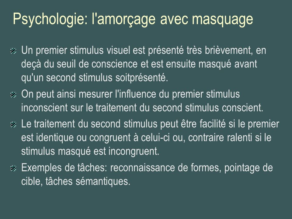 Psychologie: l amorçage avec masquage