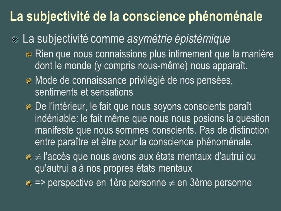 La subjectivité de la conscience phénoménale