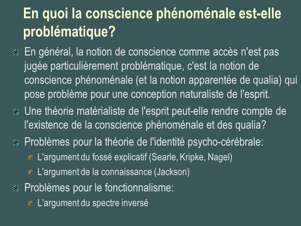 En quoi la conscience phénoménale est-elle problématique
