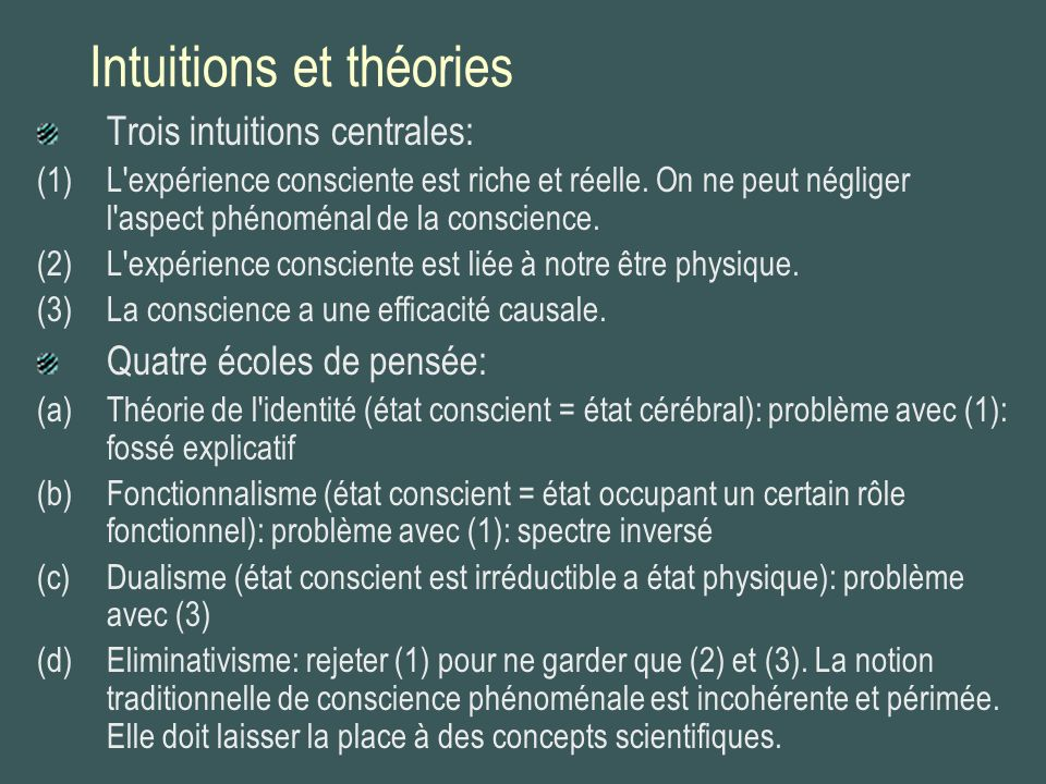 Intuitions et théories