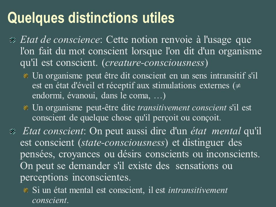 Quelques distinctions utiles